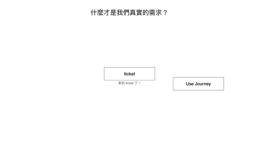 什麼才是我們真實的需求? ticket 拿到 ticket 了! Use Journey