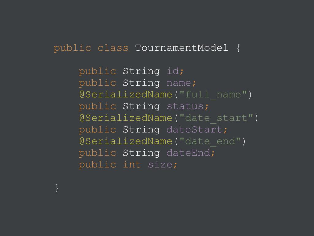 public class TournamentModel {  public String...