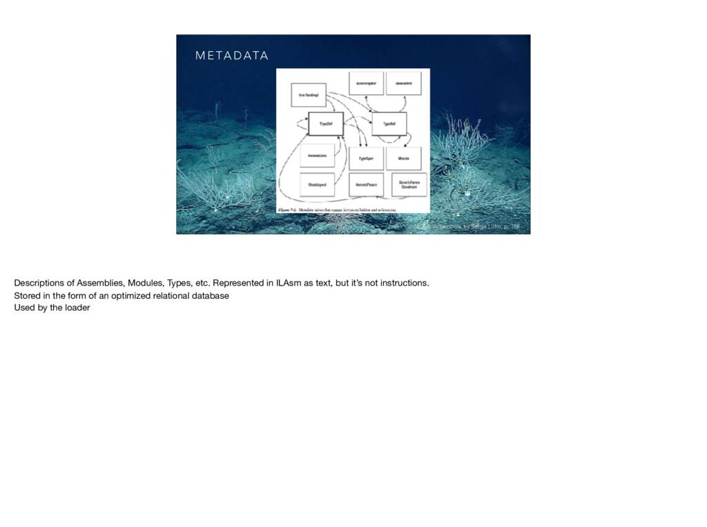 M E TA D ATA .NET IL Assembler, by Serge Lidin,...