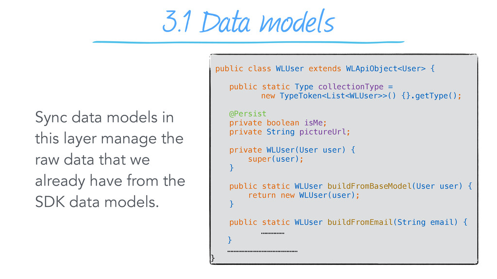 3.1 Data models Sync data models in this layer ...