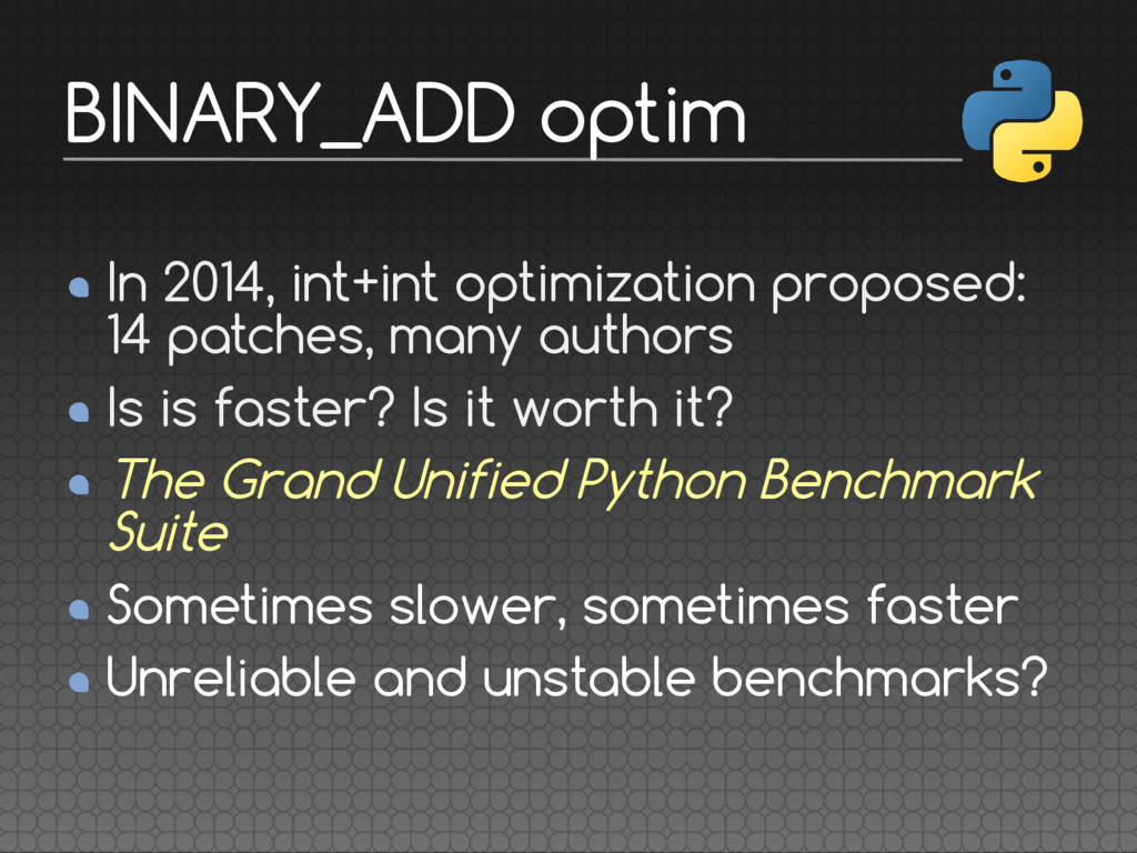 In 2014, int+int optimization proposed: 14 patc...