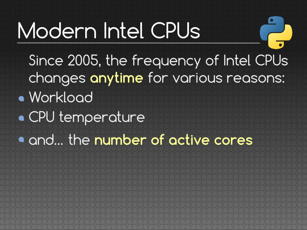 Since 2005, the frequency of Intel CPUs changes...