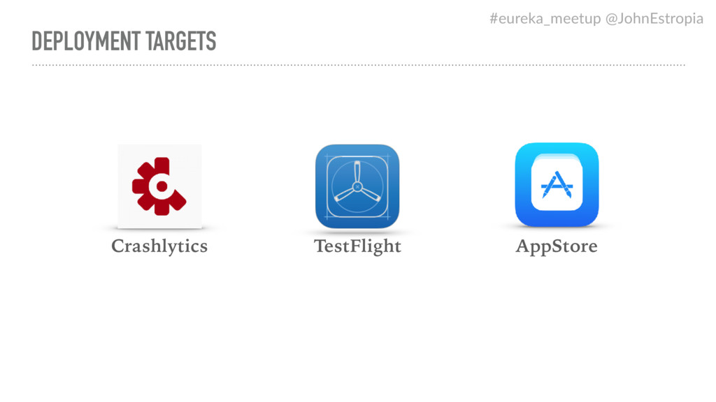 DEPLOYMENT TARGETS AppStore Crashlytics TestFli...