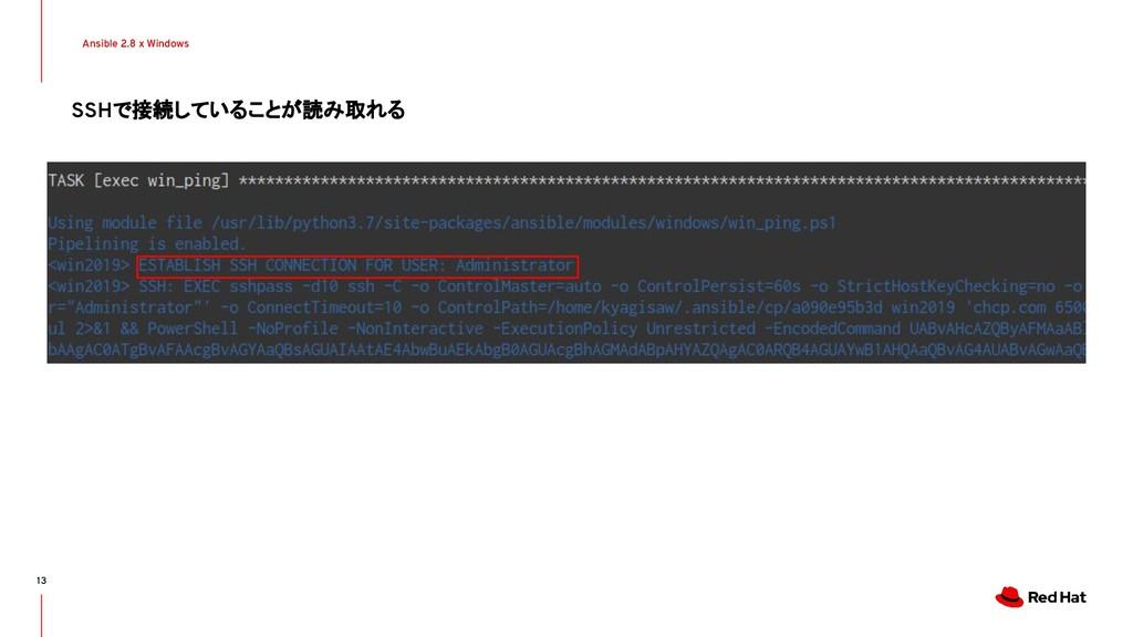 Ansible 2.8 x Windows 13 SSHで接続していることが読み取れる