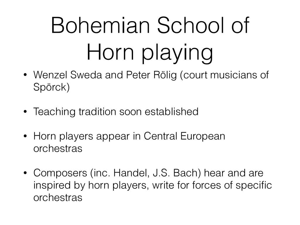Bohemian School of Horn playing • Wenzel Sweda ...