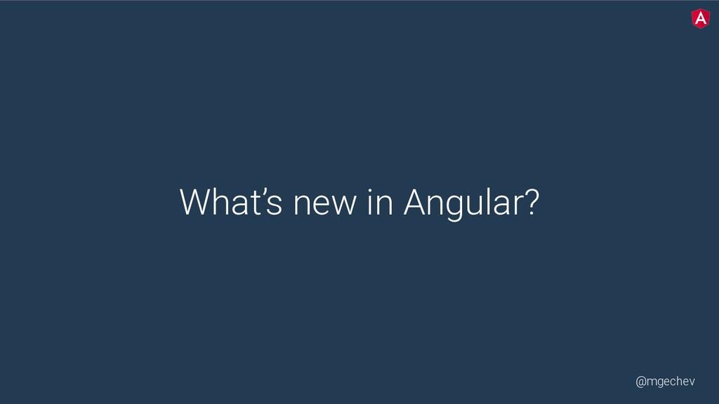 @mgechev What's new in Angular?