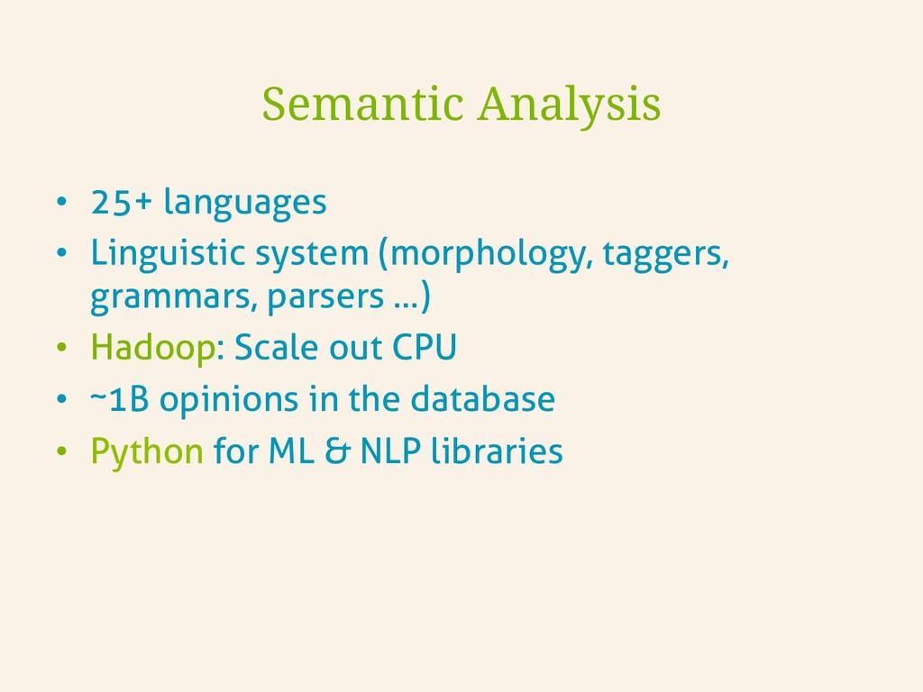 • 25+ languages • Linguistic system (morpholo...