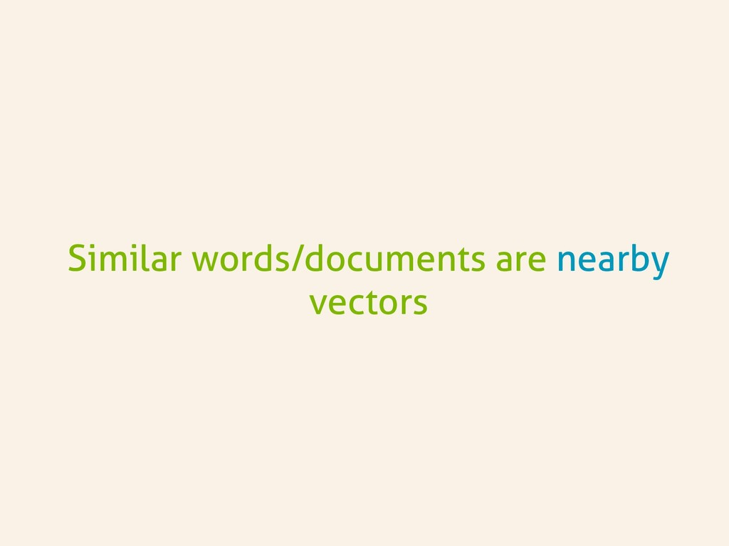 Similar words/documents are nearby vectors