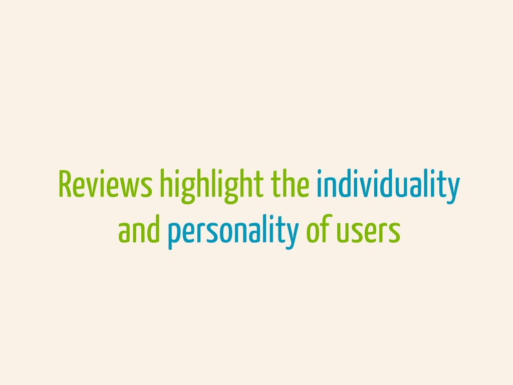 Reviews highlight the individuality and persona...