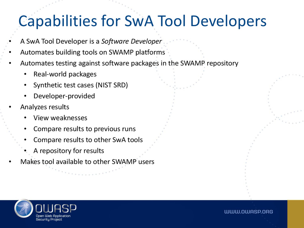 Capabilities for SwA Tool Developers • A SwA To...