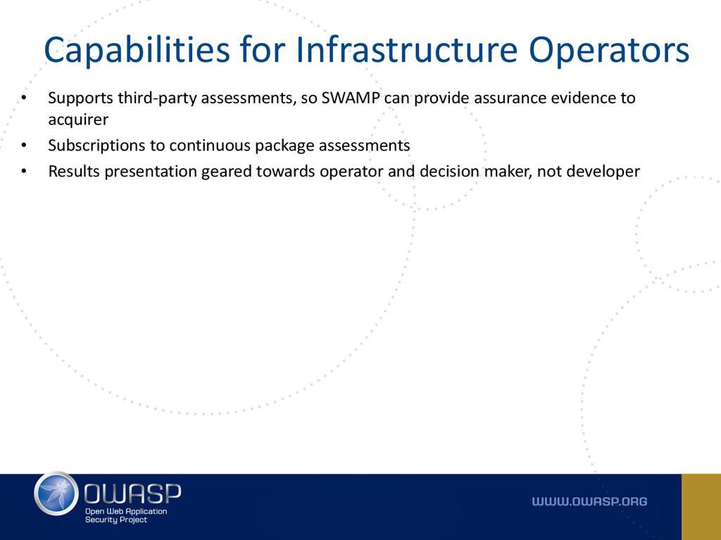 Capabilities for Infrastructure Operators • Sup...