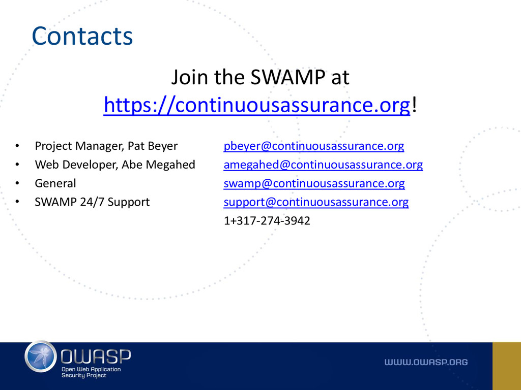 Contacts Join the SWAMP at https://continuousas...