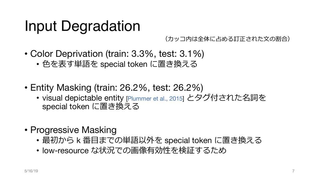 Input Degradation • Color Deprivation (train: 3...