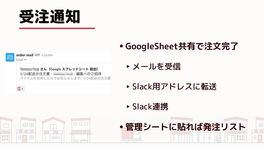 受注通知 •GoogleSheet共有で注文完了 ‣ メールを受信 ‣ Slack用アドレスに...