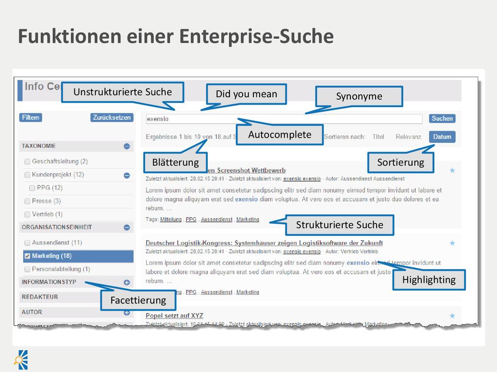 Funktionen einer Enterprise-Suche Blätterung So...