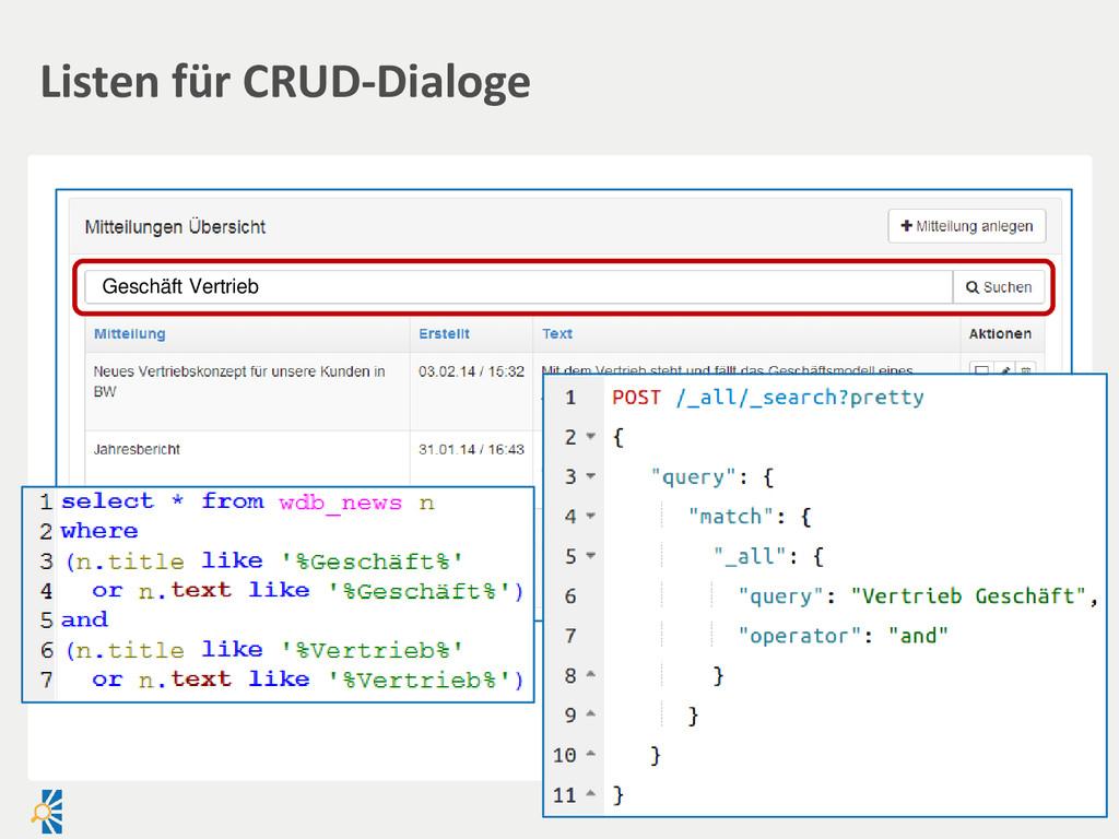Listen für CRUD-Dialoge Geschäft Vertrieb