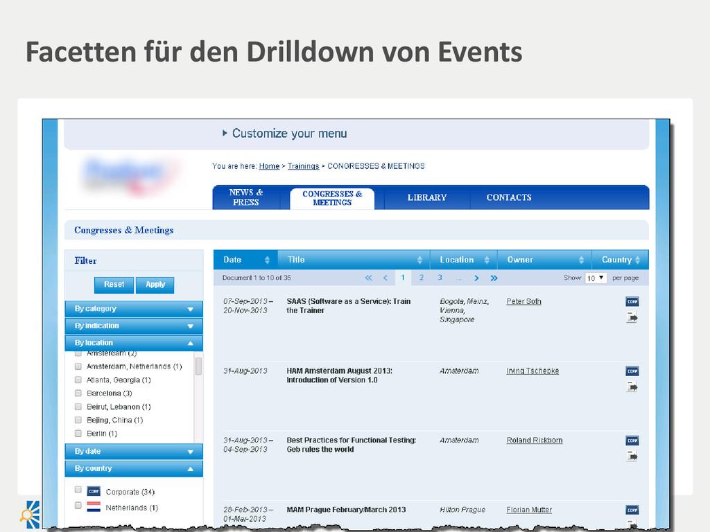 Facetten für den Drilldown von Events
