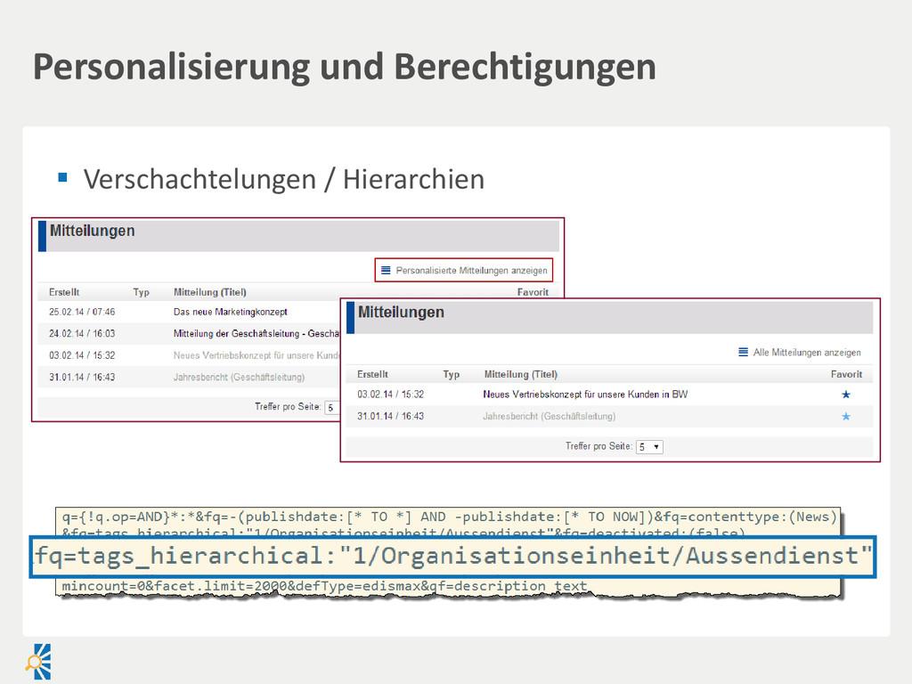 Verschachtelungen / Hierarchien Personalisier...