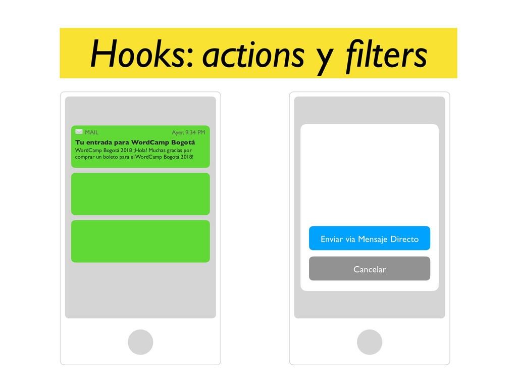 Hooks: actions y filters Cancelar Enviar via Men...