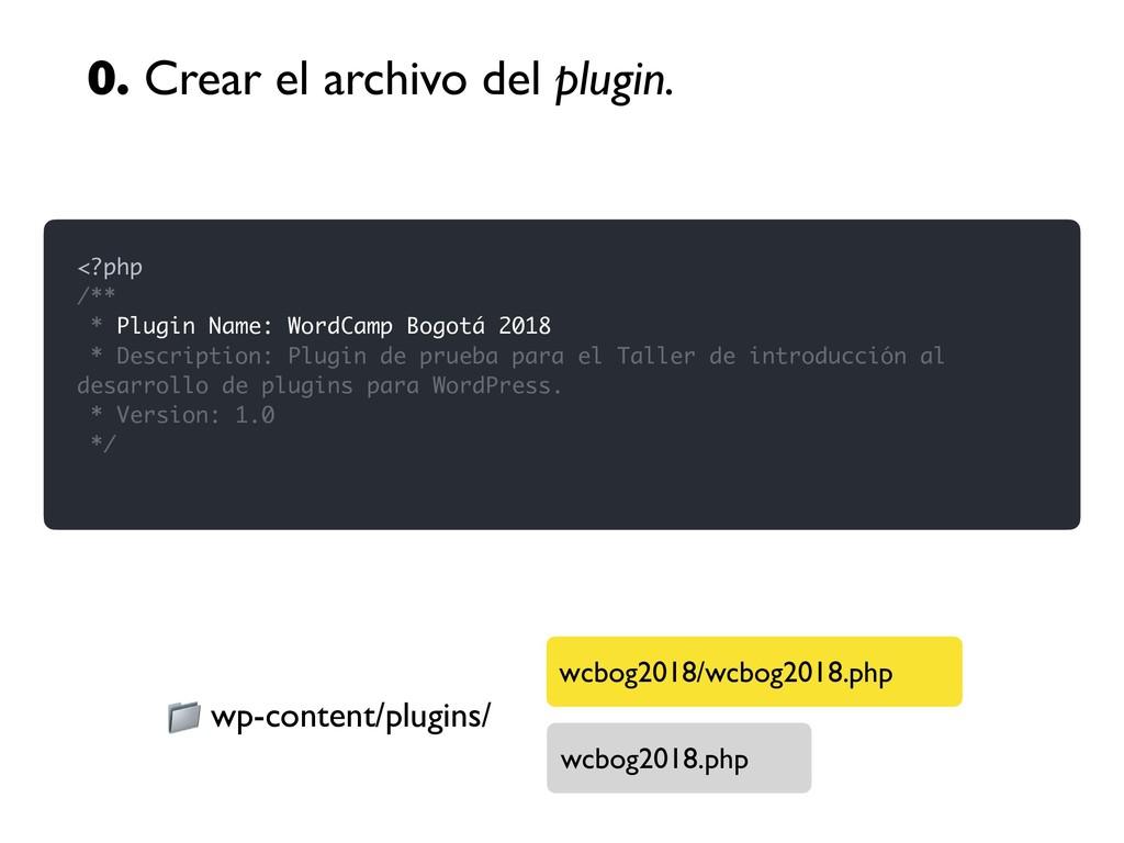 0. Crear el archivo del plugin. <?php /** * Plu...