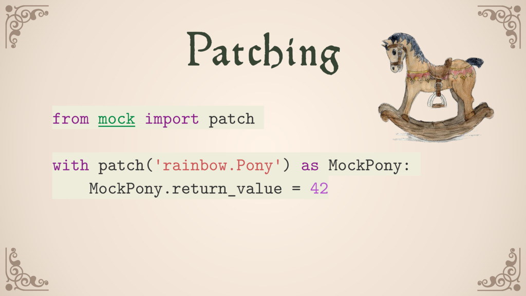 Patching from mock import patch with patch('rai...