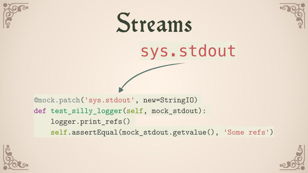 Streams @mock.patch('sys.stdout', new=StringIO)...