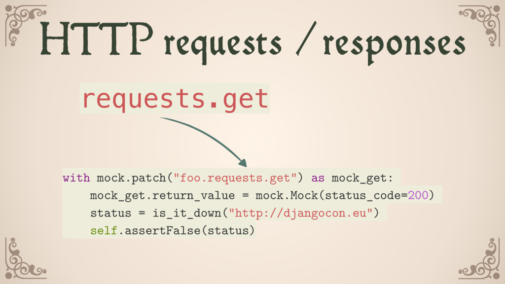 HTTP requests /responses requests.get with mock...