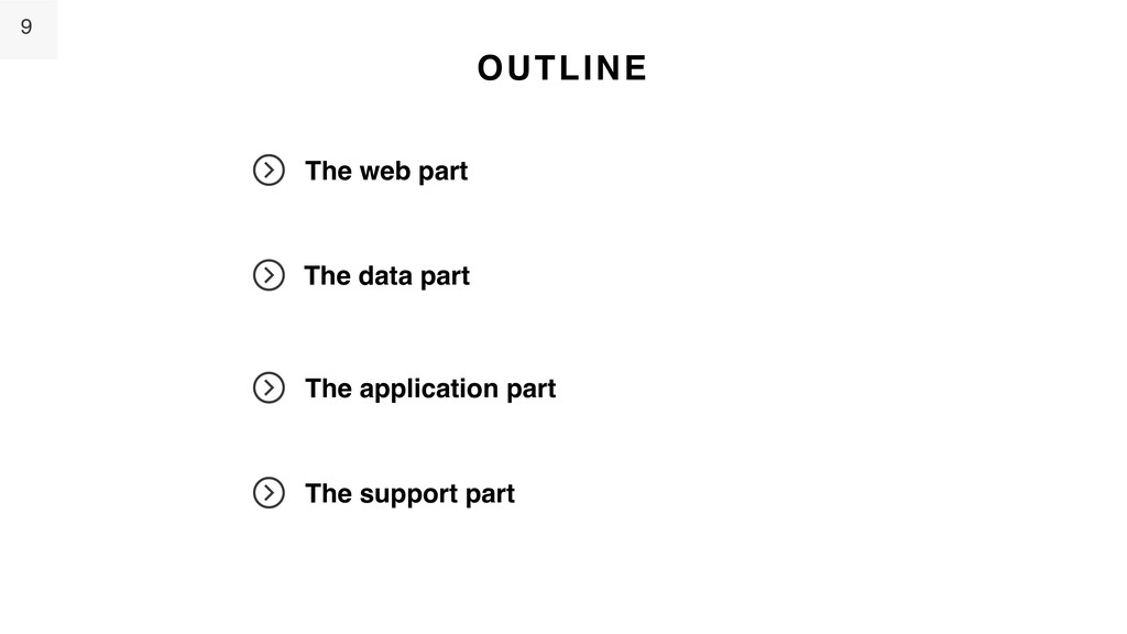 9 OUTLINE The web part The data part The applic...