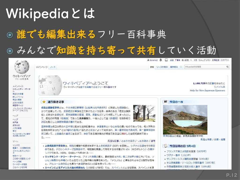 Wikipediaとは  誰でも編集出来るフリー百科事典  みんなで知識を持ち寄って共有し...