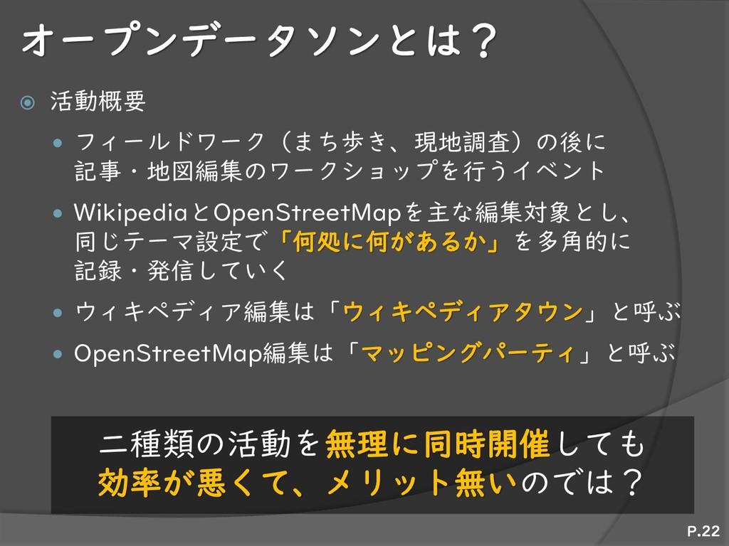 オープンデータソンとは?  活動概要  フィールドワーク(まち歩き、現地調査)の後に 記事...