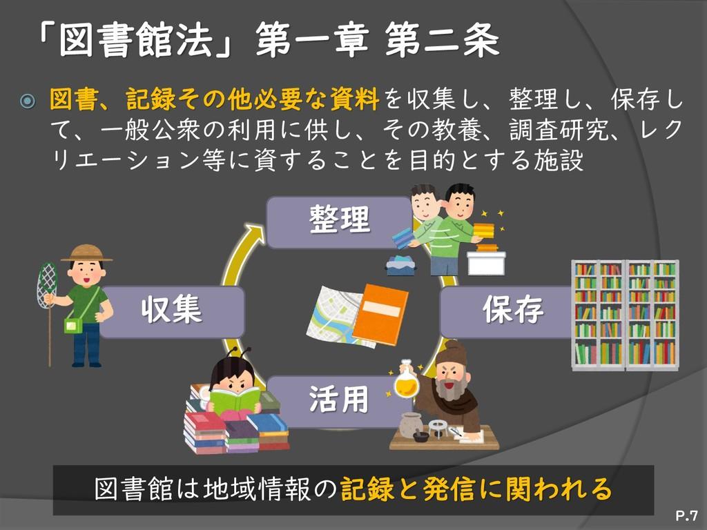 整理 保存 活用 収集 「図書館法」第一章 第二条  図書、記録その他必要な資料を収集し、整...