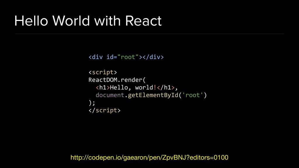 Hello World with React http://codepen.io/gaearo...