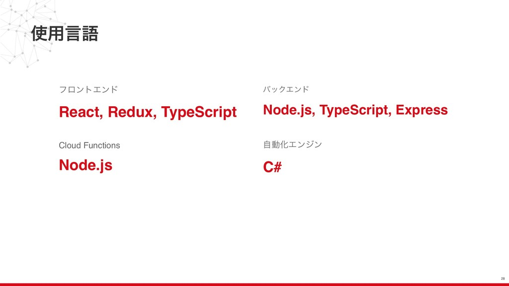 ༻ݴޠ 28 Cloud Functions Node.js όοΫΤϯυ Node.js,...