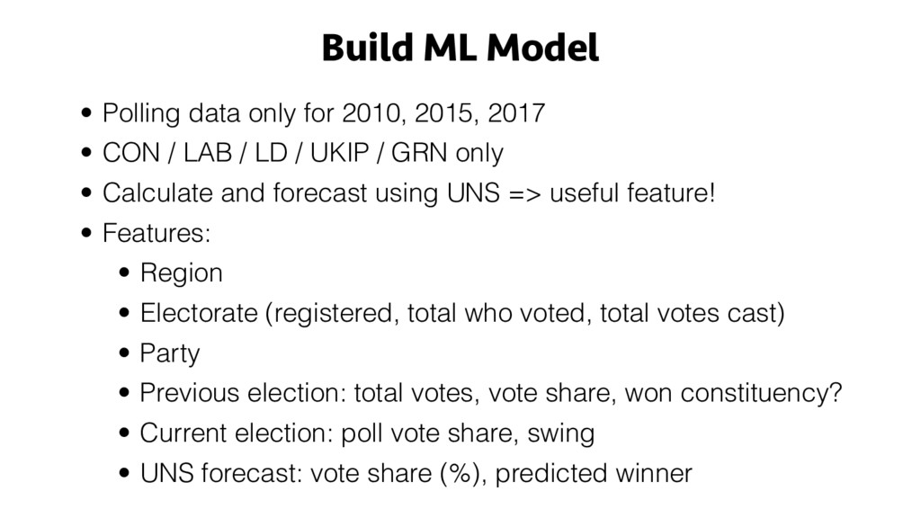 Build ML Model • Polling data only for 2010, 20...