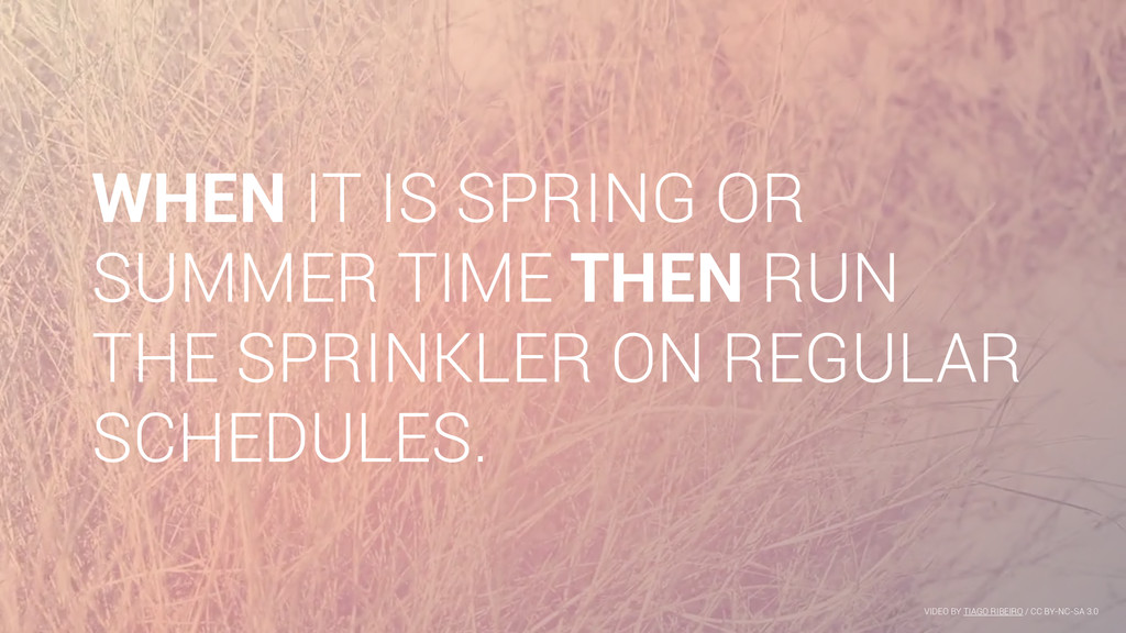 WHEN IT IS SPRING OR SUMMER TIME THEN RUN THE S...