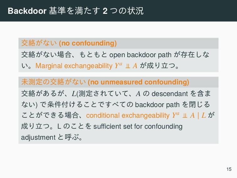 Backdoor ج४Λຬͨ͢ 2 ͭͷঢ়گ ަབྷ͕ͳ͍ (no confounding) ަ...