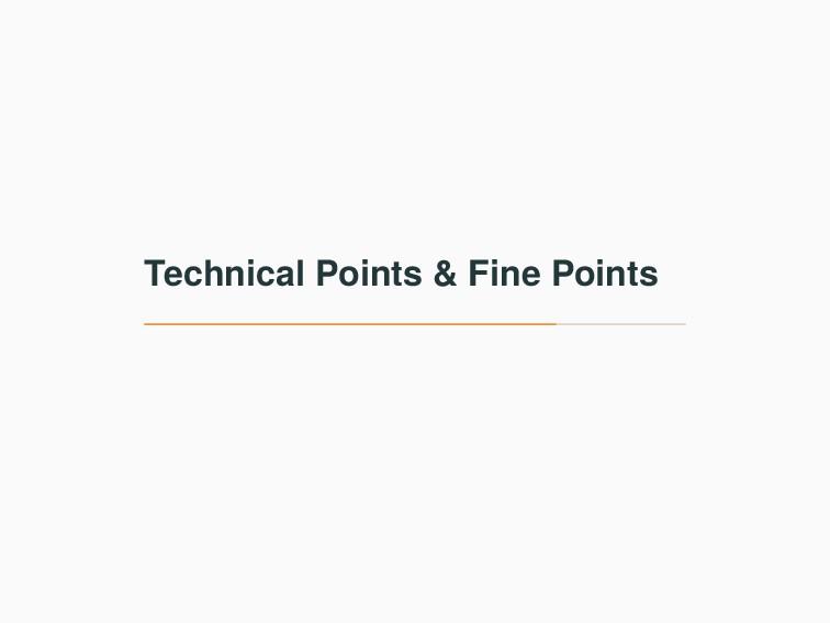 Technical Points & Fine Points