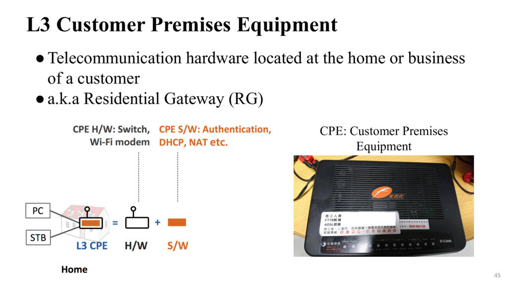 ●Telecommunication hardware located at the home...