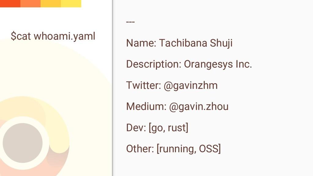 $cat whoami.yaml --- Name: Tachibana Shuji Desc...