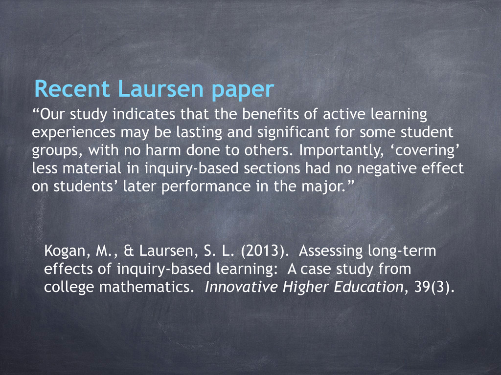 """Recent Laursen paper """"Our study indicates that ..."""