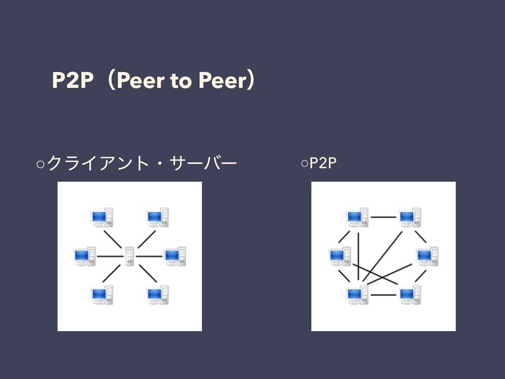 P2PʢPeer to Peerʣ ○ΫϥΠΞϯτɾαʔόʔ ○P2P