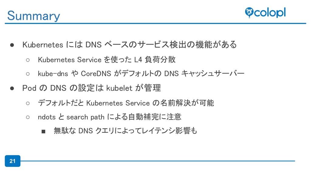 21 ● Kubernetes には DNS ベースのサービス検出の機能がある ○ Kube...