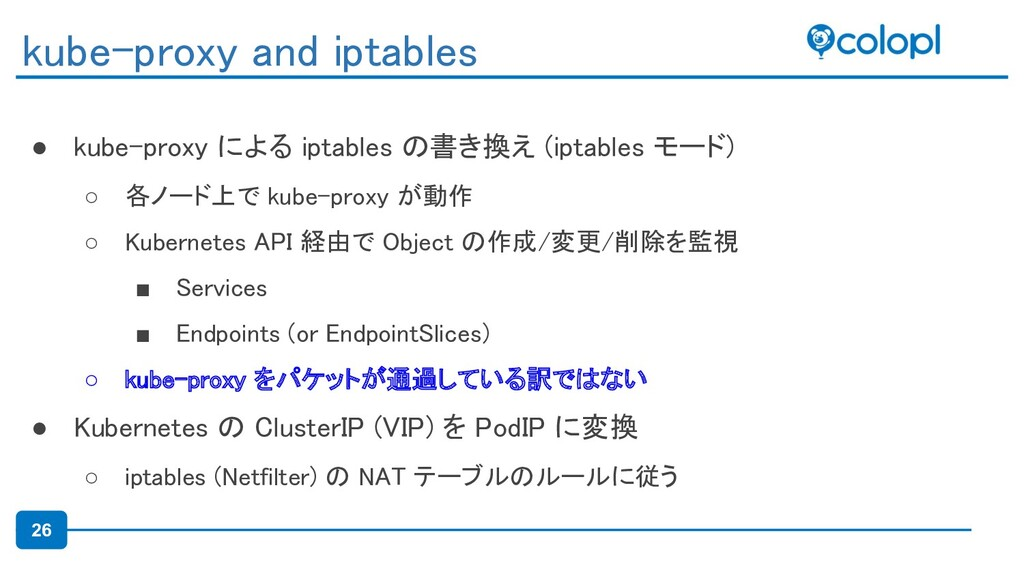 26 ● kube-proxy による iptables の書き換え (iptables モー...