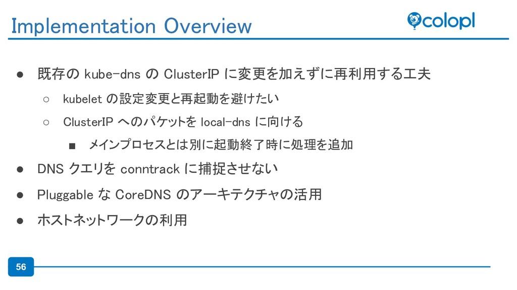 56 ● 既存の kube-dns の ClusterIP に変更を加えずに再利用する工夫 ...
