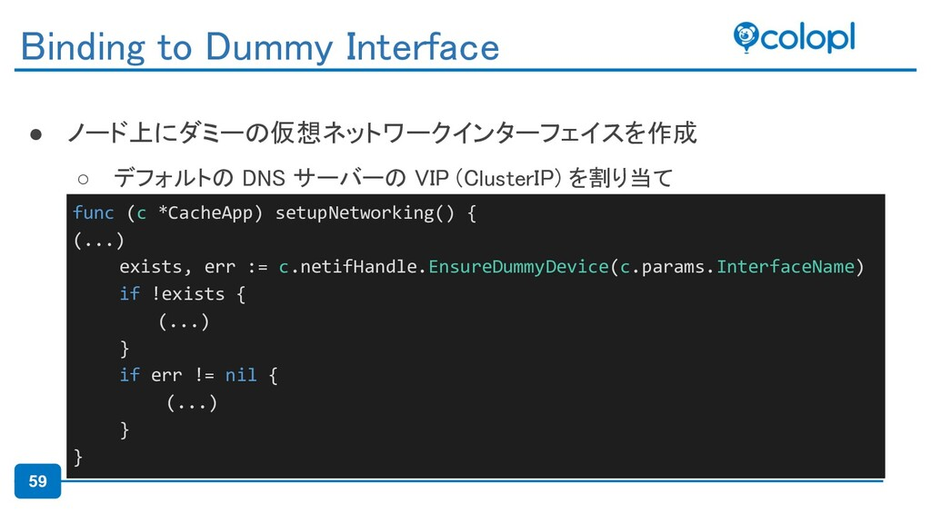 59 ● ノード上にダミーの仮想ネットワークインターフェイスを作成 ○ デフォルトの DNS...