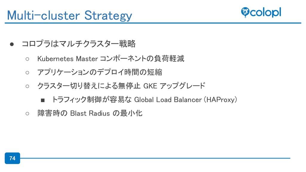 74 ● コロプラはマルチクラスター戦略 ○ Kubernetes Master コンポーネ...
