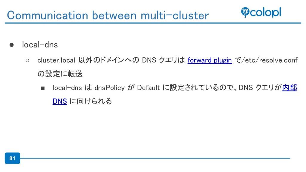 81 ● local-dns ○ cluster.local 以外のドメインへの DNS ク...