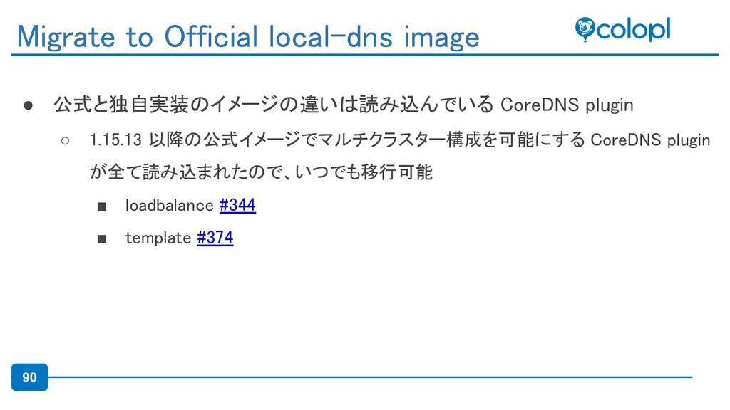 90 ● 公式と独自実装のイメージの違いは読み込んでいる CoreDNS plugin ○ ...