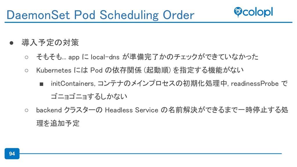 94 ● 導入予定の対策 ○ そもそも... app に local-dns が準備完了かの...