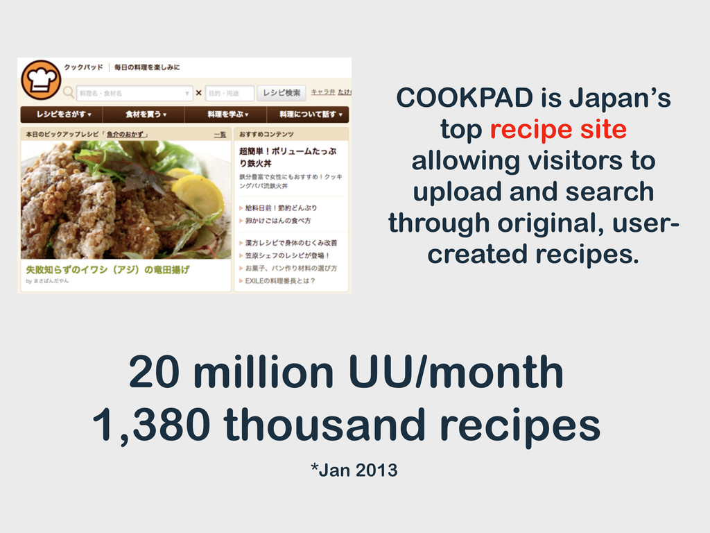 COOKPAD is Japan's top recipe site allowing vis...